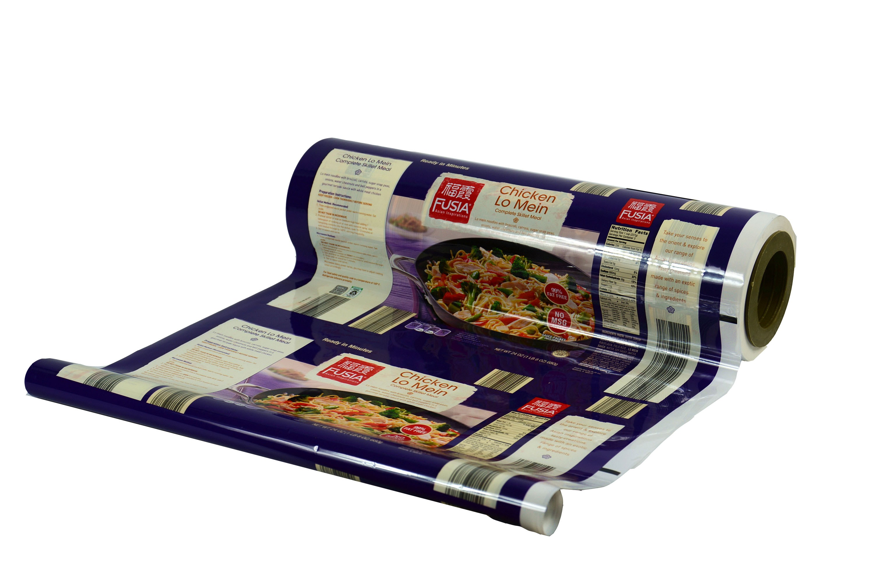 laminated plastic roll film for food